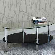 3-Layers Tempered Black Glass Oval Coffee Side Table with Shelves Chrome Legs