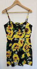 Asos Parisian Sunflower Print Strappy Front Keyhole Bow Mini Sun Dress Size 14