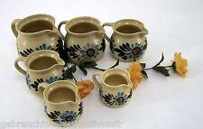 Steingut Keramik Henkelgefäße 6 Stück braun grün hellblau in verschiedene Größen