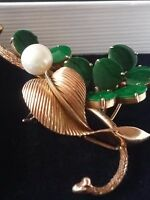Estate Vintage14K Yellow Gold Green Jade & Pearl Brooch Pin, 13.7 Grams