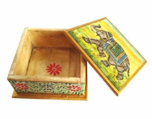 Wunderschöne BOX aus Kamelknochen Camelbone handbemalt Rajasthan Miniaturmalerei