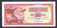 YUGOSLAVIA 100 Dinara 1965 UNC  P80a  Small-Baroque Style Serial Number  SCARCE