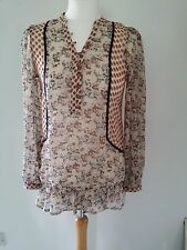 Oasis Ladies Floral Indian style Top 10 blouse cream red brown blue long sleeves