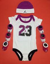 AIR JORDAN BABY GIRLS Outfit Bodysuit, Booties & Cap 5-pc GIFT set White. 0-6 M.