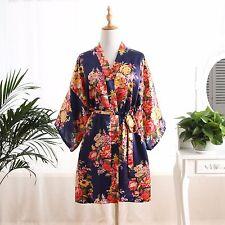 Navy Blue Floral bridesmaid robes gowns bride bath robe wedding kimono robes
