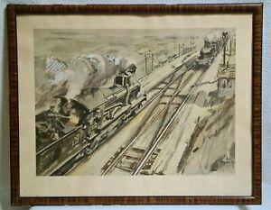 E.A SCHEFER 1896-1942 Illustrateur Ferroviaire Fac-Similé d'une aquarelle Train