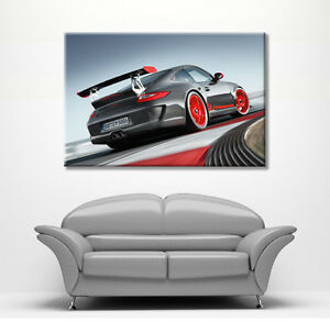 PORSCHE 911 GT3 RS RED & GREY LARGE CANVAS WALL ART PICTURE STUNNING NEW PRINT