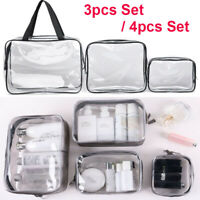 Set S-XL Clear Transparent PVC Travel Cosmetic Make Up Toiletry Zipper Bag Pouch