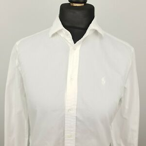 Polo Ralph Lauren Womens Formal Shirt Blouse Size 10 White Relaxed Cotton