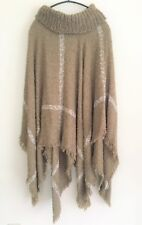New soft knit poncho taupe/white stripes cowl neck