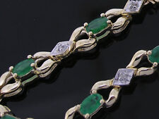 B048-Genuine 9K Solid Yellow Gold NATURAL Emerald & Diamond Line  Bracelet 19cm