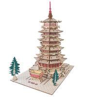 Assembly Kit DIY Education Toy 3D Wooden Model Puzzles Sakyamuni Pagoda Temple