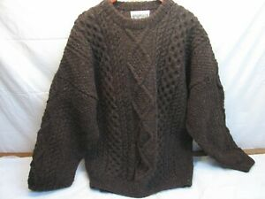Aran Sweater Market Men's L Wool Pull Over Brown Chunky Knit Pullover