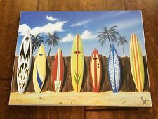 16 x 13 surfboards against wall at beach, signed by scott, on whiteboard
