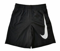NWT Nike Boys Youth Athletic Shorts Big Swoosh Size 7 Black White 862851  $20