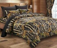 7pc Queen WOODLAND BLACK CAMO COMFORTER / SHEET SET : BED IN A BAG WOODS HUNT