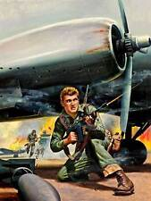 PULP FICTION ILLUSTRATION WAR BATTLE SOLDIER GUNS FINE ART PRINT POSTER BB9379