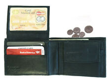 Black Men's Genuine Leather Window 9 Cards ID Bifold Wallet Flap Top Coin Pocket