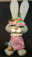 Grey Felt Easter Bunny / Rabbit Decoration - Pink Dress and Nut Shell Basket
