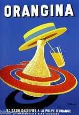 """orangina drink vintage art poster print  blue french for glass frame 36"""""""