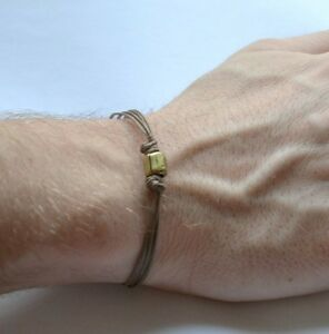 Cord bracelet for men, men's bracelet with a bronze tube charm, brown cord