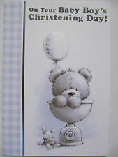 WONDERFUL EMBOSSED CUTE TEDDY ON THE SCALES BABY BOY CHRISTENING GREETING CARD