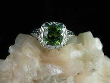 2.67 ct. Cushion Peridot Ring Art Deco Style Sterling Silver