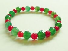 Green agate & red chalcedony gemstone stretch bracelet.