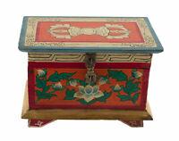 Scatola Cofanetto Tibetano Vajra Buddista 20cm Vajra Conch Lotus Nepal 7404