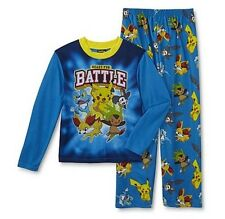 Pokemon PIKACHU Pajamas Boy's 10/12 NeW L/S Shirt and Lounge Pants Pjs Set NWT