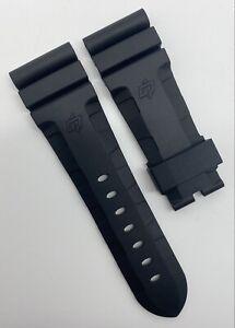 Authentic Officine Panerai 26mm x 22mm Accordion Black Rubber Watch Strap OEM