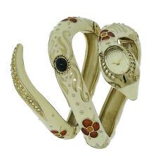 Roberto Cavalli R7253132517 Eva Women's Cream Enamel Yellow Stones Snake Watch