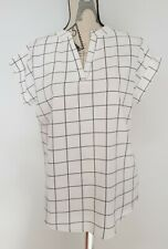 Black and White Large Check Checked Summer Top Blouse Size 12