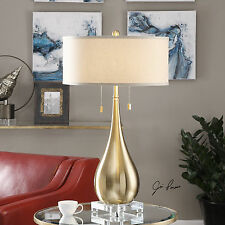 NEW BRUSHED BRASS METAL TABLE LAMP LINEN SHADE CRYSTAL BASE LIGHT UTTERMOST