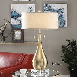 """LAGRIMA 31"""" BRUSHED BRASS PLATE METAL TABLE BUFFET LAMP CRYSTAL BASE UTTERMOST"""