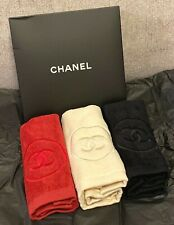 Set Of 3 CHANEL BEAUTY Beige Red Black FACE HAND TOWEL SKINCARE WASH BATH NIB