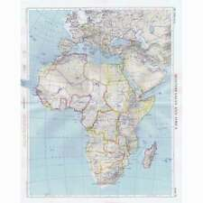Mediterranean and Africa on Miller's Prolated Projection - Vintage Map 1956