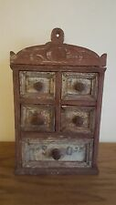Antique Primitive Hanging Spice Box In Early Paint