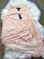 NWT White House Black Market Peach Drape Sleeveless Blouse Top Women's XS A2
