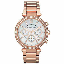 MICHAEL KORS PARKER ROSE GOLD CRYSTAL PEARL FACE CHRONOGRAPH LADIES WATCH MK5491