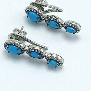 Sterling Silver Sleeping Beauty Turquoise & Zircon Climber Earrings by UTC