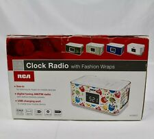 Rca Dual Alarm Clock Radio with Multicolor Fashion Wraps Usb Charger Port