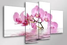 Quadro Moderno 4 pz. ORCHIDS IN THE LAKE cm 140x95 arredo fiori stampa su tela