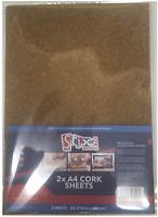 Pack De 2 A4 Corcho Hojas 2mm Grueso Para Craft Troquelado Tarjetería S57421