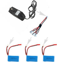 3PCS 7.4V 1100mAh Batteries+Charger+Cable For RC WLtoys Car A949 A959 A979 V912