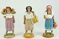 "3 Vtg Mexican Folk Art Clay Figurines Tlaquepaque Style 6"" Tall Women Repaired"