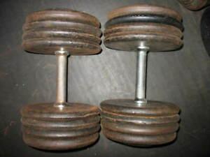 YORK BARBELL CO. MARKED & NON-MARKED ON IVANKO, PRO-STYLE DB HANDLES:(2) XAPPROX