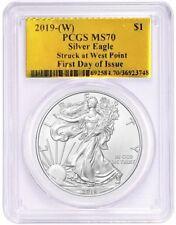 2019-(W) $1 1oz Silver Eagle MS70 PCGS Struck at West Point FDOI Gold Foil