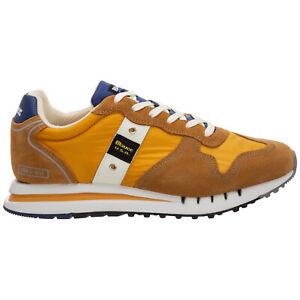 Blauer sneakers men S1QUARTZ01MES Ochre logo detail suede shoes trainers