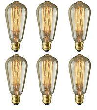 6 PACK Retro Filament Edison Bulbs E26 Screw Dimmable ST64 Industrial Light Lamp